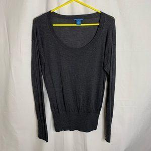 White + Warren Silk Cashmere Scoop Neck Sweater Lg